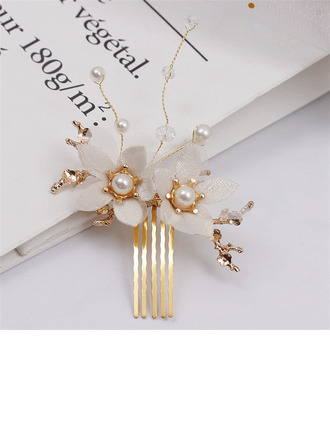 Glamourous Alloy/Flannelette Combs & Barrettes With Rhinestone/Venetian Pearl (Set of 2)