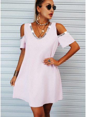 Sequins Solid Shift Short Sleeves Mini Casual Tunic Dresses