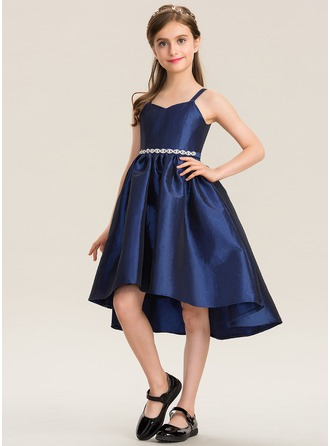 A-Line Sweetheart Asymmetrical Taffeta Junior Bridesmaid Dress With Beading Bow(s)
