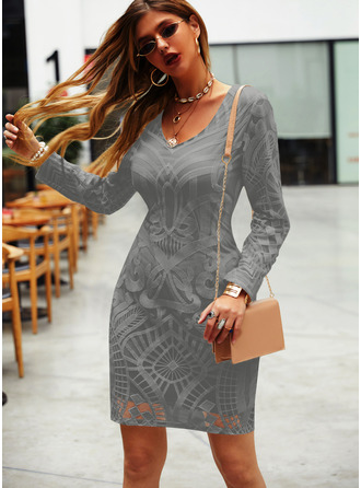 Print Bodycon Long Sleeves Mini Little Black Elegant Dresses