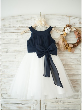 A-Line/Princess Knee-length Flower Girl Dress - Chiffon/Tulle Sleeveless Scoop Neck