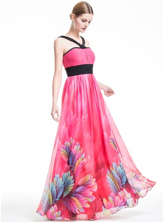 Empire V-neck Floor-Length Chiffon Holiday Dress With Ruffle