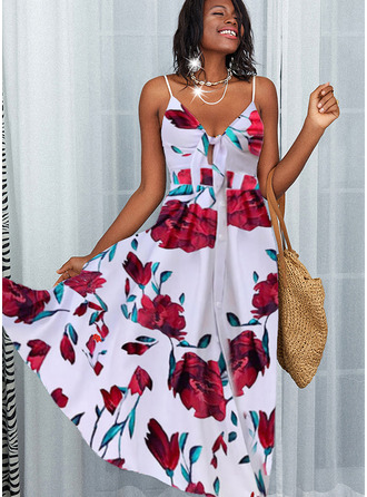 Floral Print A-line Sleeveless Maxi Party Skater Type Dresses