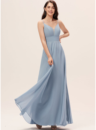 V-Neck Dusty Blue Chiffon Dresses