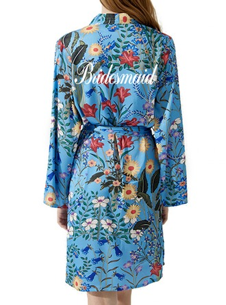 Personalized Bride Bridesmaid Satin With Short Personalized Robes Kimono Robes EmbroideredRobes