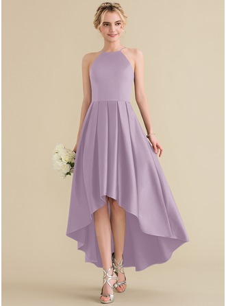A-Line Scoop Neck Asymmetrical Satin Prom Dresses With Ruffle
