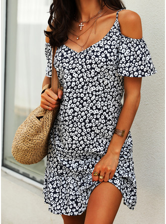 Floral Print Shift Cold Shoulder Sleeve Short Sleeves Midi Casual Vacation Dresses