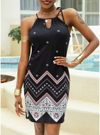 Print Sheath Sleeveless Mini Casual Vacation Type Dresses