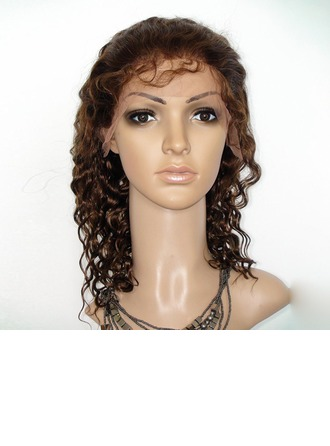 4A Non remy Deep Wavy Human Hair Lace Front Wigs