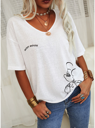 Animal Print V-Neck 1/2 Sleeves Casual T-shirt