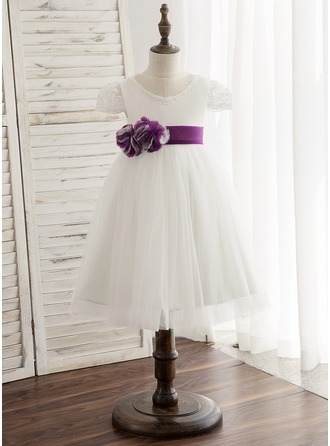 A-Line/Princess Knee-length Flower Girl Dress - Tulle/Lace Sleeveless Scoop Neck With Sash (Detachable sash)