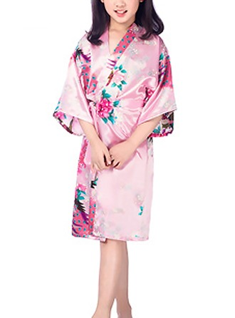 Flower Girl Polyester With Knee-Length Floral Robes Kimono Robes