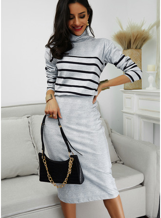 Striped Bodycon Long Sleeves Midi Elegant Pencil Dresses