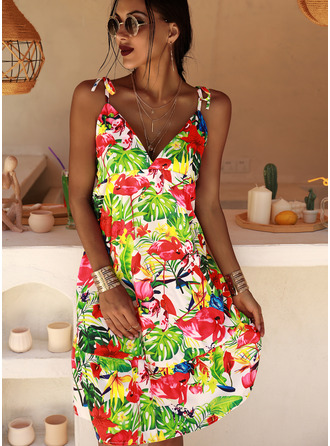 Floral Print A-line Sleeveless Midi Casual Vacation Skater Type Dresses