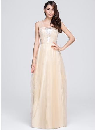 A-Line/Princess Sweetheart Floor-Length Tulle Lace Evening Dress With Ruffle