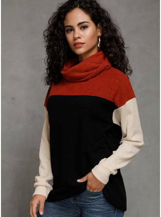 Color Block High Neck Long Sleeves Casual