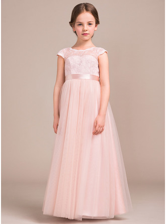 A-Line/Princess Floor-length Flower Girl Dress - Tulle/Charmeuse/Lace Short Sleeves Scoop Neck With Bow(s)