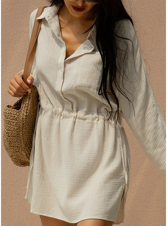 Solid A-line Long Sleeves Mini Casual Shirt Dresses