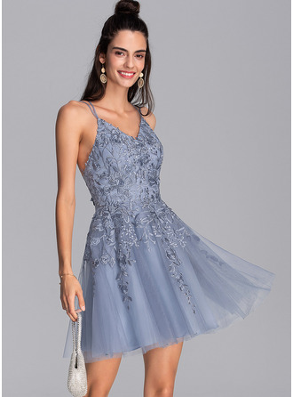 A-Line V-neck Short/Mini Tulle Cocktail Dress