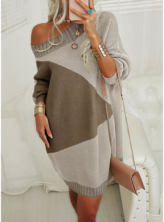 Color Block Long Sleeves Casual Long Sweater Dress Dresses