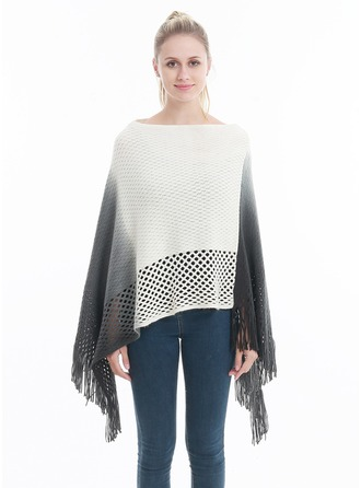Tassel/Couture Énorme/simple Laine artificielle Poncho