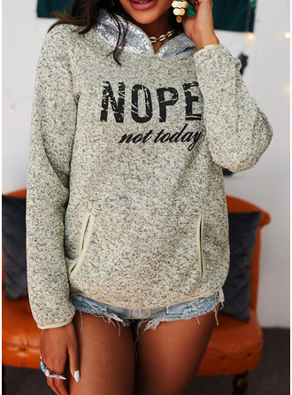 Print Sequins Pockets Figure Long Sleeves Hoodie