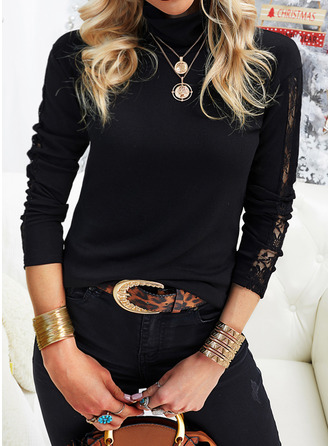 Lace Solid High Neck Long Sleeves Elegant Blouses
