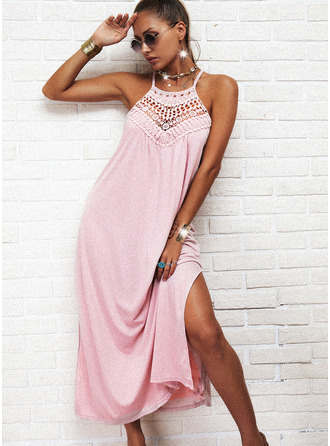 Lace Solid Shift Sleeveless Maxi Casual Type Dresses