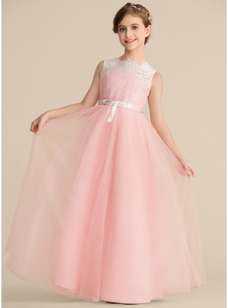 A-Line/Princess Scoop Neck Floor-Length Tulle Lace Junior Bridesmaid Dress With Beading Bow(s)