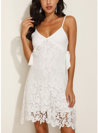 Lace Solid Shift Sleeveless Mini Casual Sexy Vacation Type Dresses