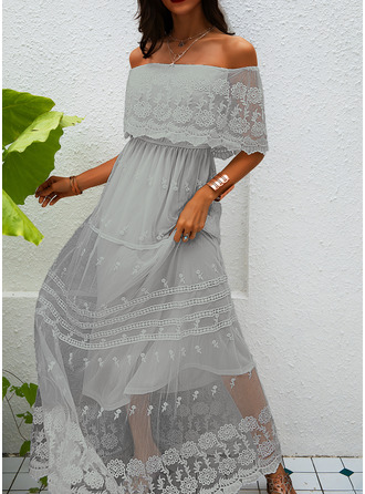 Lace Solid A-line 1/2 Sleeves Maxi Elegant Dresses