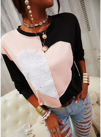 Color Block Sequins Round Neck Long Sleeves Casual T-shirt