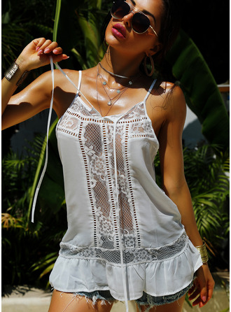 Lace Solid Sleeveless Polyester Spaghetti Straps Tank Tops Blouses