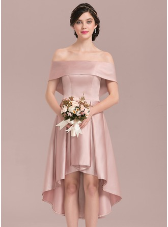 A-Linie/Princess-Linie Off-the-Schulter Asymmetrisch Satin Brautjungfernkleid