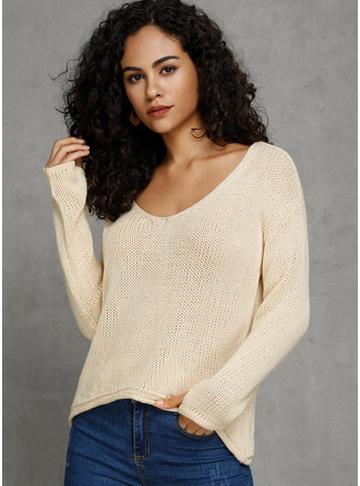 V-Neck Solid Sweaters