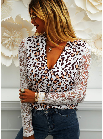 Leopard Lace V-Neck Long Sleeves Puff Sleeves Casual Blouses