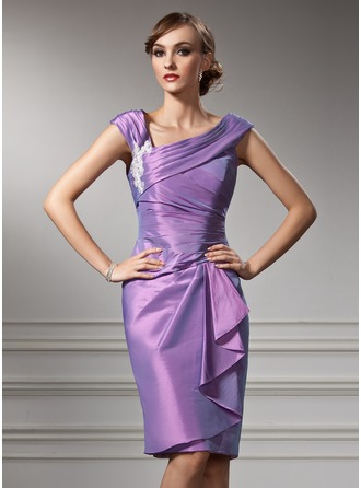 Sheath/Column Off-the-Shoulder Knee-Length Taffeta Mother of the Bride Dress With Appliques Lace Cascading Ruffles