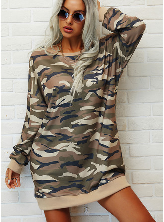Print Camouflage Shift Long Sleeves Mini Casual Sweatshirt Dresses