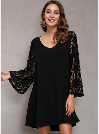 Lace Solid V-Neck Flare Sleeve Long Sleeves Mini Dresses
