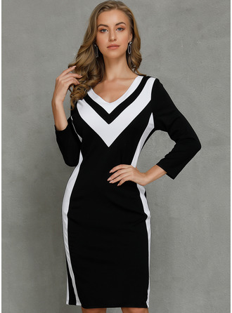 Color Block Bodycon 3/4 Sleeves Midi Casual Elegant Pencil Dresses