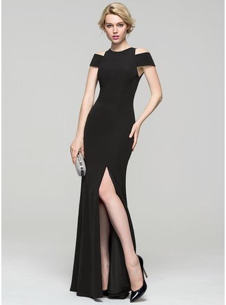 Sheath/Column Scoop Neck Floor-Length Satin Evening Dress With Split Front