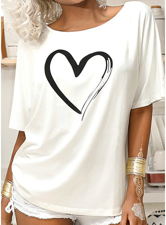 Print One Shoulder 1/2 Sleeves Casual T-shirt