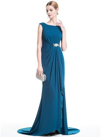 Trumpet/Mermaid Scoop Neck Sweep Train Jersey Evening Dress With Crystal Brooch