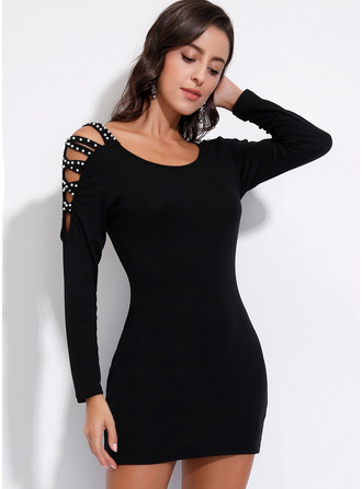 Above Knee Round Neck Polyester Beaded Long Sleeves Fashion Dresses