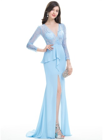 Trumpet/Mermaid V-neck Sweep Train Chiffon Evening Dress With Sequins Split Front