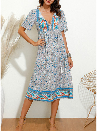 Floral Print Shift Short Sleeves Midi Boho Casual Vacation Tunic Dresses