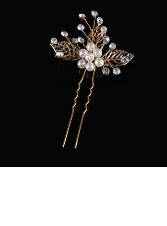 Ladies Classic Crystal/Alloy/Imitation Pearls Hairpins (Sold in single piece)