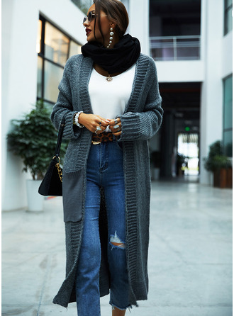 Casual Long Solid Chunky knit Pocket Sweaters