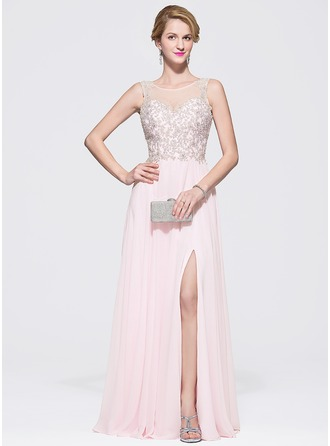 A-Line/Princess Scoop Neck Floor-Length Chiffon Tulle Prom Dresses With Beading Sequins Split Front