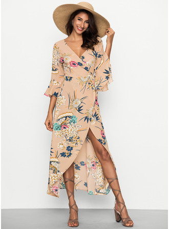 Floral Print A-line Shift Flare Sleeve Asymmetrical Boho Casual Sexy Vacation Dresses
